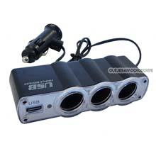 Rozgałęziacz USB + 3 wejścia + kabel  12V-24V   /61495/